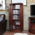 La Roque Dark Wood Media Storage Cupboard Unit 5 Shelves Cd Dvd Solid Mahogany Ebay