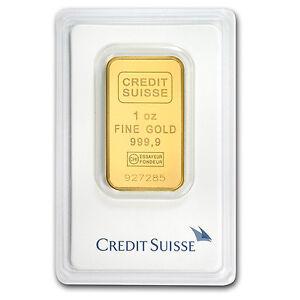 1 oz Credit Suisse Gold Bar .9999 Fine In Assay - SKU #82687
