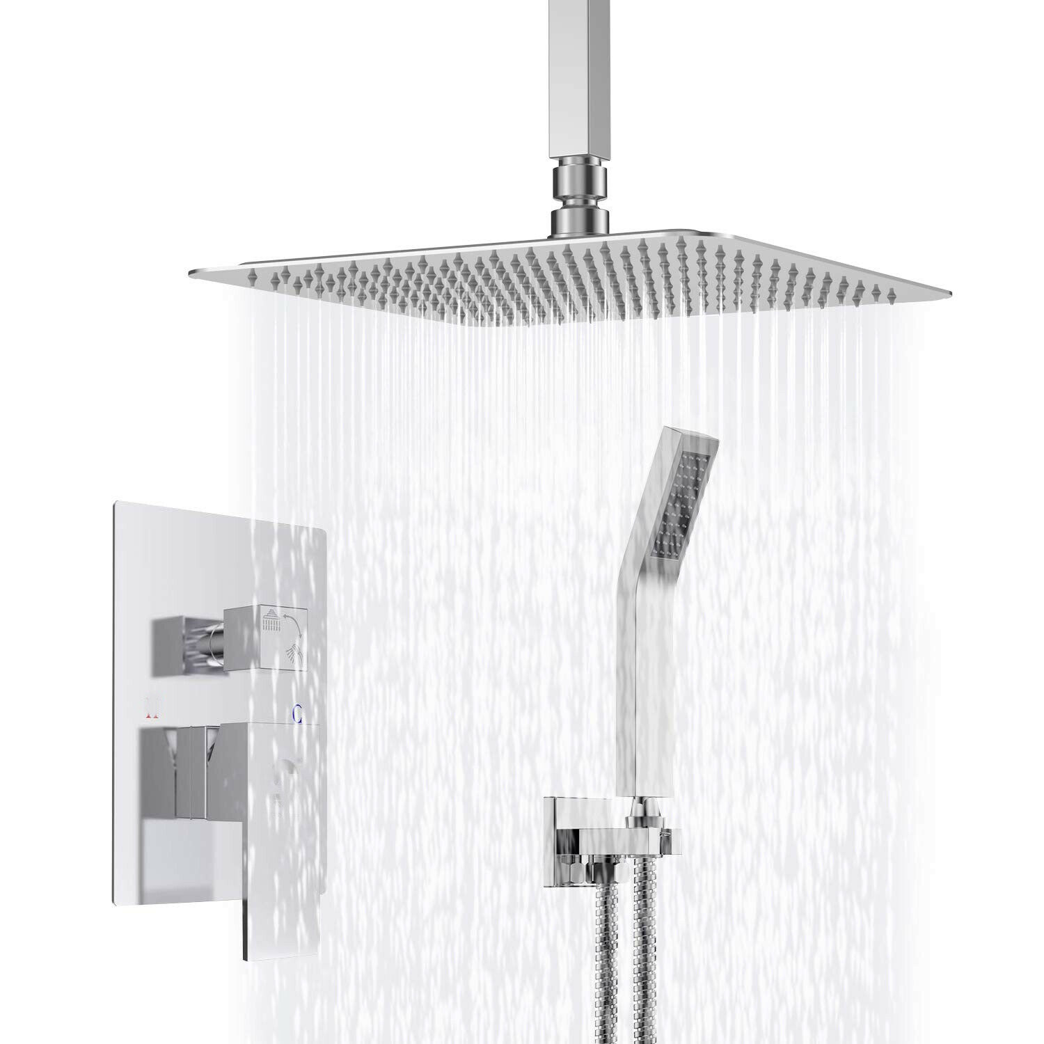 Details About Ceiling Mount Bathroom Rain Mixer Shower Combo Set 8 Inch Rainfall Hand Shower