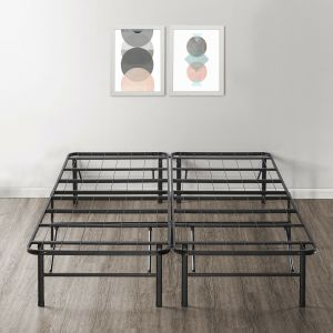 14'' Easy Setup Bi-Fold Metal Bed Frame w Under bed Storage, Mattress Foundation