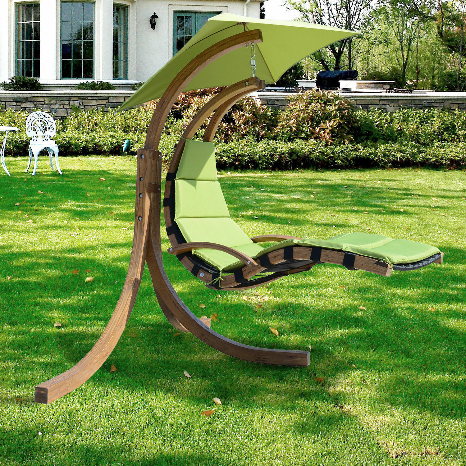 Outdoor Wooden Hanging Chaise Lounger Arc Stand Hammock
