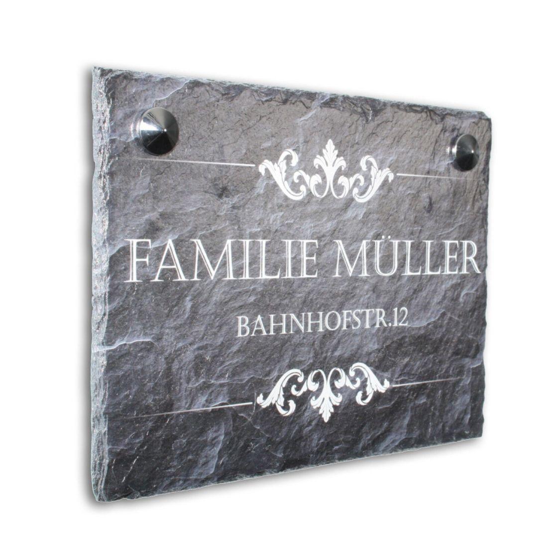 Willkommen Türschild Namensschild aus Schiefer Hausschild mit Wunschname 20x15cm