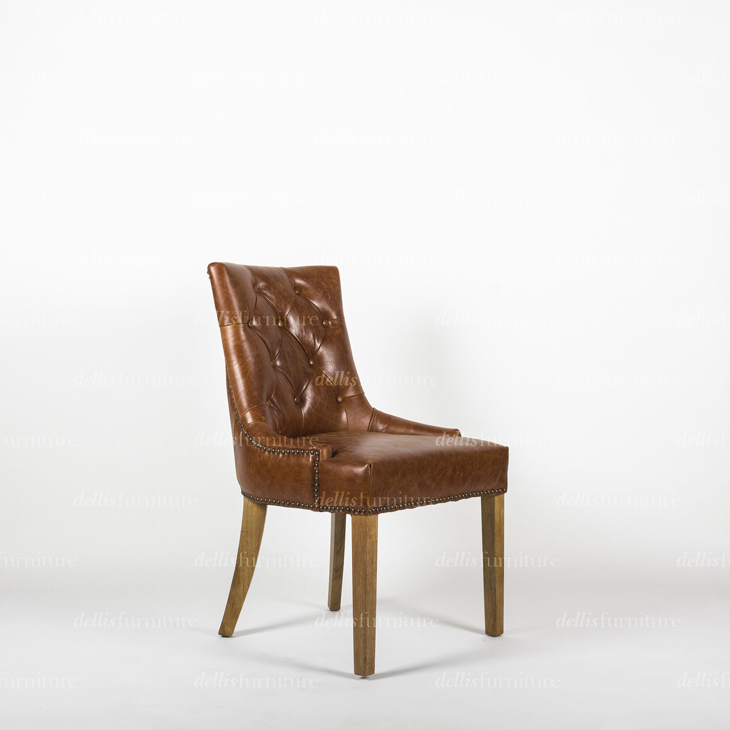 buttoned leather chair best lawn chairs monte french provincial and studded curved back