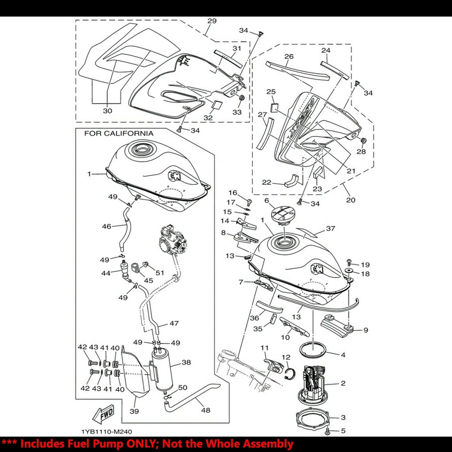 OE Replacement EFI Fuel Pump+Filter/Strainer 15-18 YZFR3