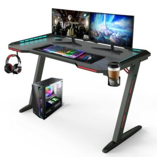 47inch RGB LED Gaming Computer Desk Carbon Effect Racing Table Workstation Home