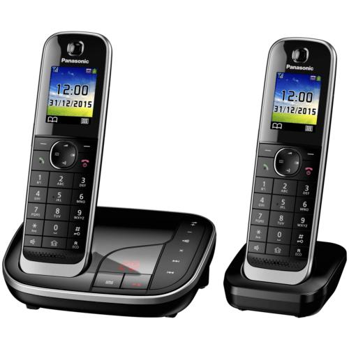 Panasonic KX-TGJ322GB schnurloses Duo DECT Festnetztelefon inkl. AB, schwarz