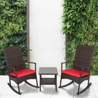 3PCS Rattan Wicker Rocking Chair Set W/Cushions Patio Furniture Garden Yard Red