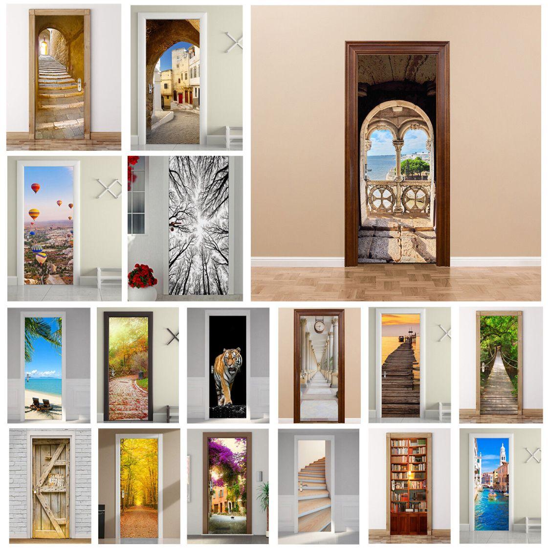 3D Tür Wand Kühlschrank Aufkleber Decals Selbstklebende Landschaft Room Wandbild