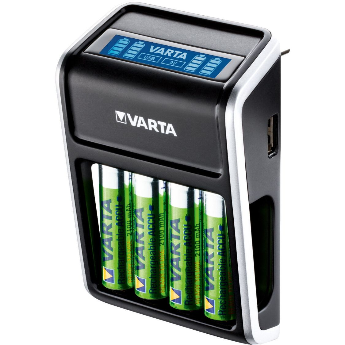 Batterieladegerät Akkuladegerät Steckerlader Ni-MH Mignon AA Micro AAA 9V USB