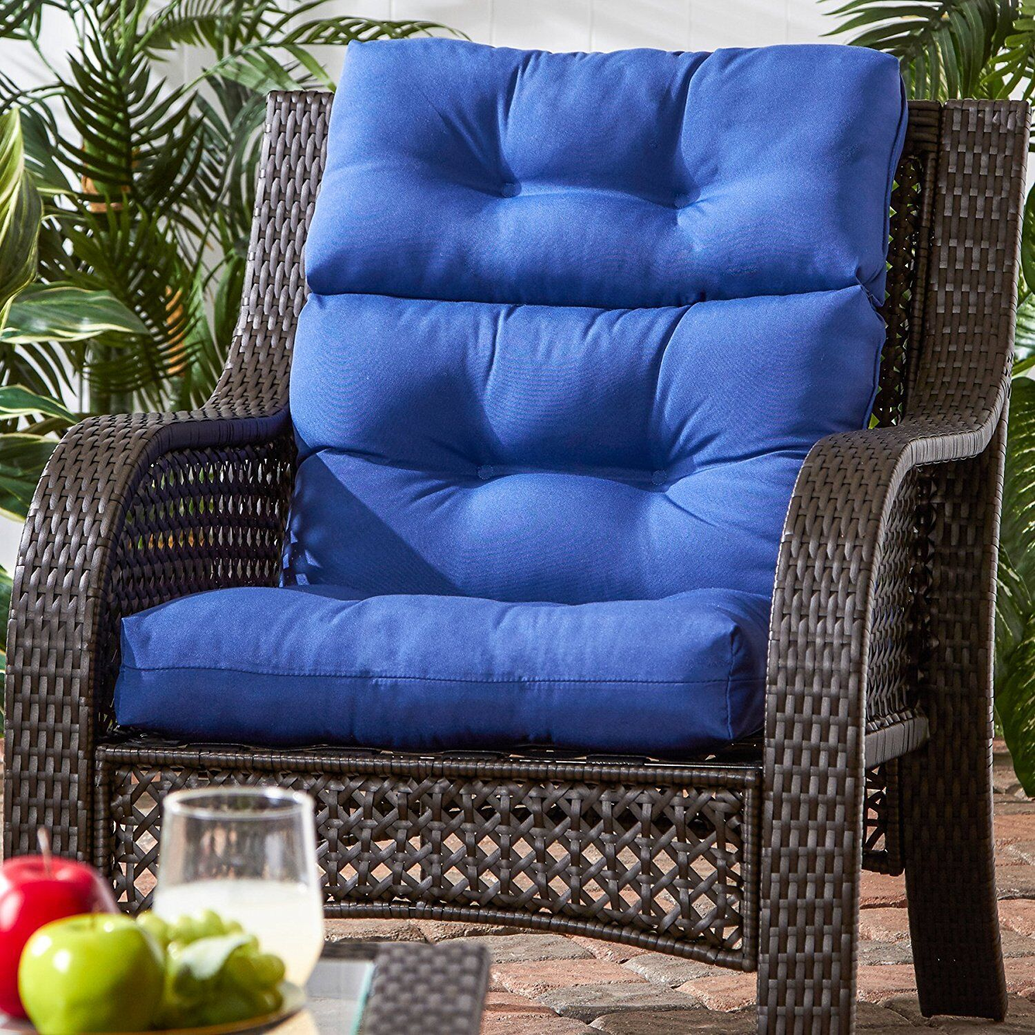 wicker patio chair set of 2 queen anne recliner produs cushion furniture