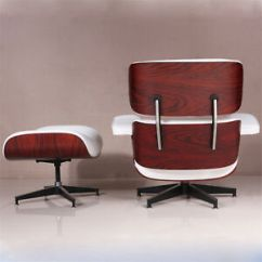 Red Leather Chair And Ottoman Outdoor Sling Covers Ebay Eames Lounge 100 Genuine White Rosewood