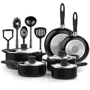 kitchen utensils aid artisan mixer vremi vr0046 15 pcs nonstick cookware set black cooking pots and pans