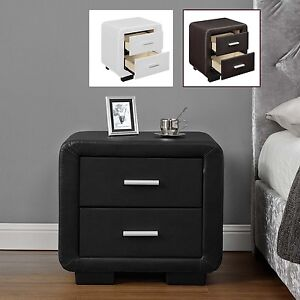 Cheap 2 Drawer Bedside Table Cabinet Black Brown White