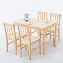 4 Chair Dining Set Folding Modern 5 Piece Pine Wood Rectangular Kitchen Room Natural Table And Chairs Breakfast Furniture