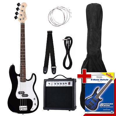 PB E-Bass Komplett Set Verstärker Kabel Stimmgerät Gigbag Band Bass Schule DVD
