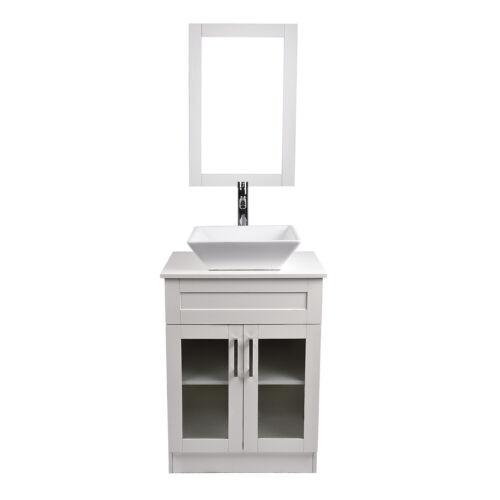 24 White Bathroom Vanity Wood Cabinet Glass Vesse In Home Garden Home Improvement Plumbing Fixtures Sinks Other Ebay For Blanja