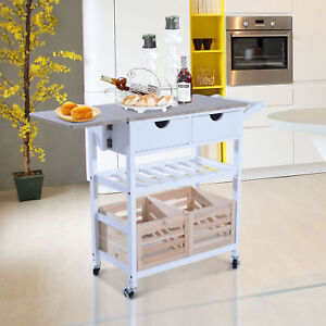 folding kitchen island gas ranges cart ebay drop leaf trolley storage drawers baskets rolling
