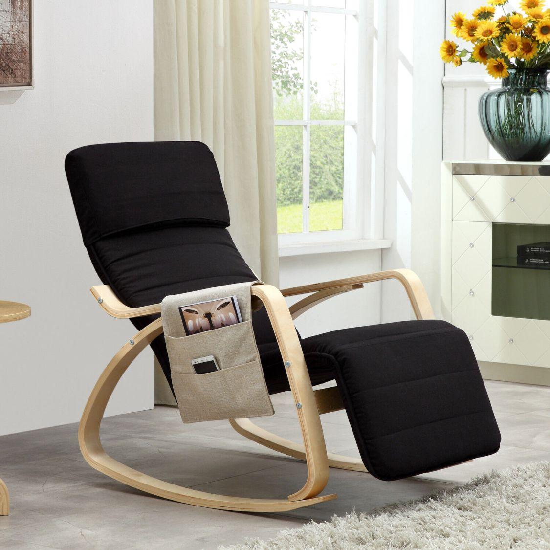 Relaxstuhl Schwingsessel Schwingstuhl Schaukelstuhl Stuhl Stühle Schwarz