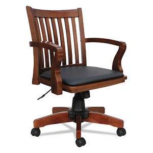 wooden leather desk chair upholstery accessories wood office ebay alera postal series slat back cherry black pc4299c