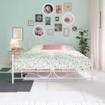 King Metal Bed Frame White Panel Scrolled Headboard Footboard Slats Steel Iron 789081613728 Ebay
