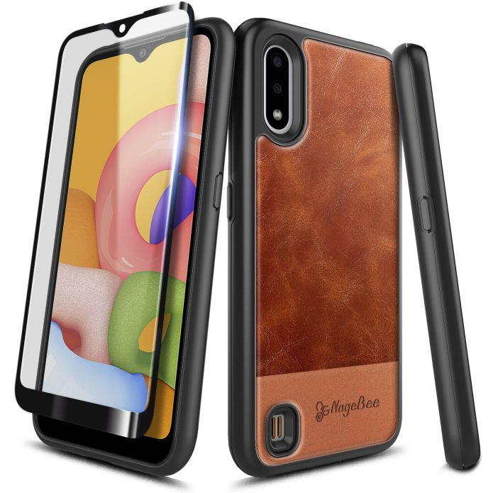 For Samsung Galaxy A01 Shockproof Leather Phone Case Tempered Glass Protector Ebay