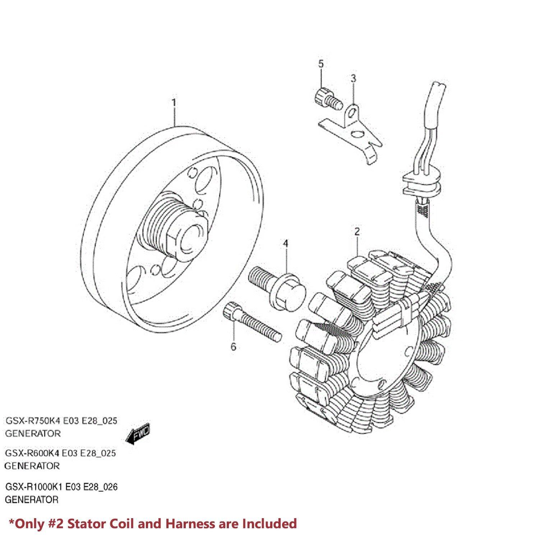 03 05 Gsxr 750 600 Lead Wire Magneto Coil Generator