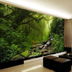 3d wall mural forest nature living landscape virgin stereo