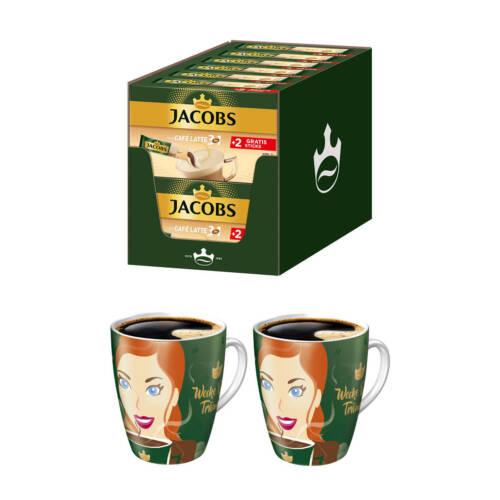 JACOBS 3in1 Typ Café Latte löslicher Kaffee (144 Sticks) + 2 X RITZENHOFF BECHER