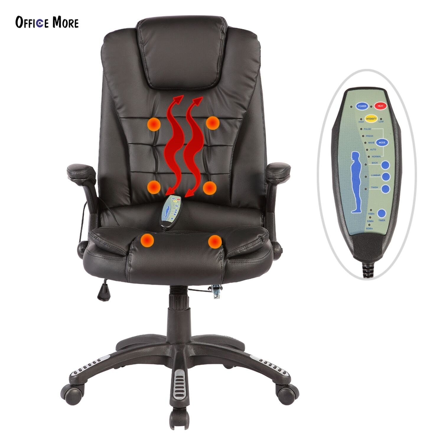 Office Chair Massager Details About Office Massage Chair Desk Swivel Heated Vibrating Ergonomic Executive Black