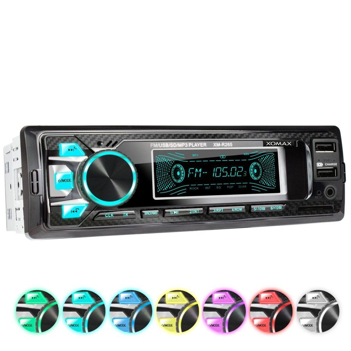 Autoradio mit Bluetooth Freisprech I 2x USB I SD AUX FM I 7 Farben I 1DIN I MP3