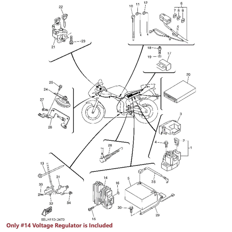 OE Voltage Regulator/Rectifier Assy. 96-05 YZF600/YZF R1