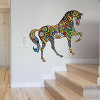 ABSTRACT COLOUR FLORAL HORSE ANIMAL WALL STICKER VINYL ...