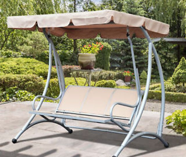 Person Steel Outdoor Patio Porch Swing Chair With Adjustable Canopy Rocker