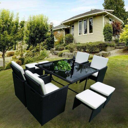 Gartenmöbel Polyrattan Essgruppe Sitzgruppe Rattan Garnitur Schwarz Lounge Satz