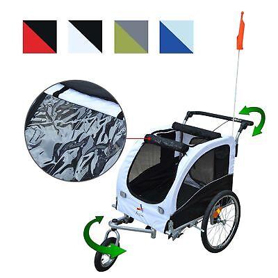 2 in 1 Hundeanhänger Fahrradanhänger Jogger Fahne Regenschutz für Hunde 4 Farbe