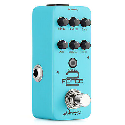 Donner Force 2 Mini Electric Guitar Preamp Effect Pedal 7 Function Knobs DC 9V