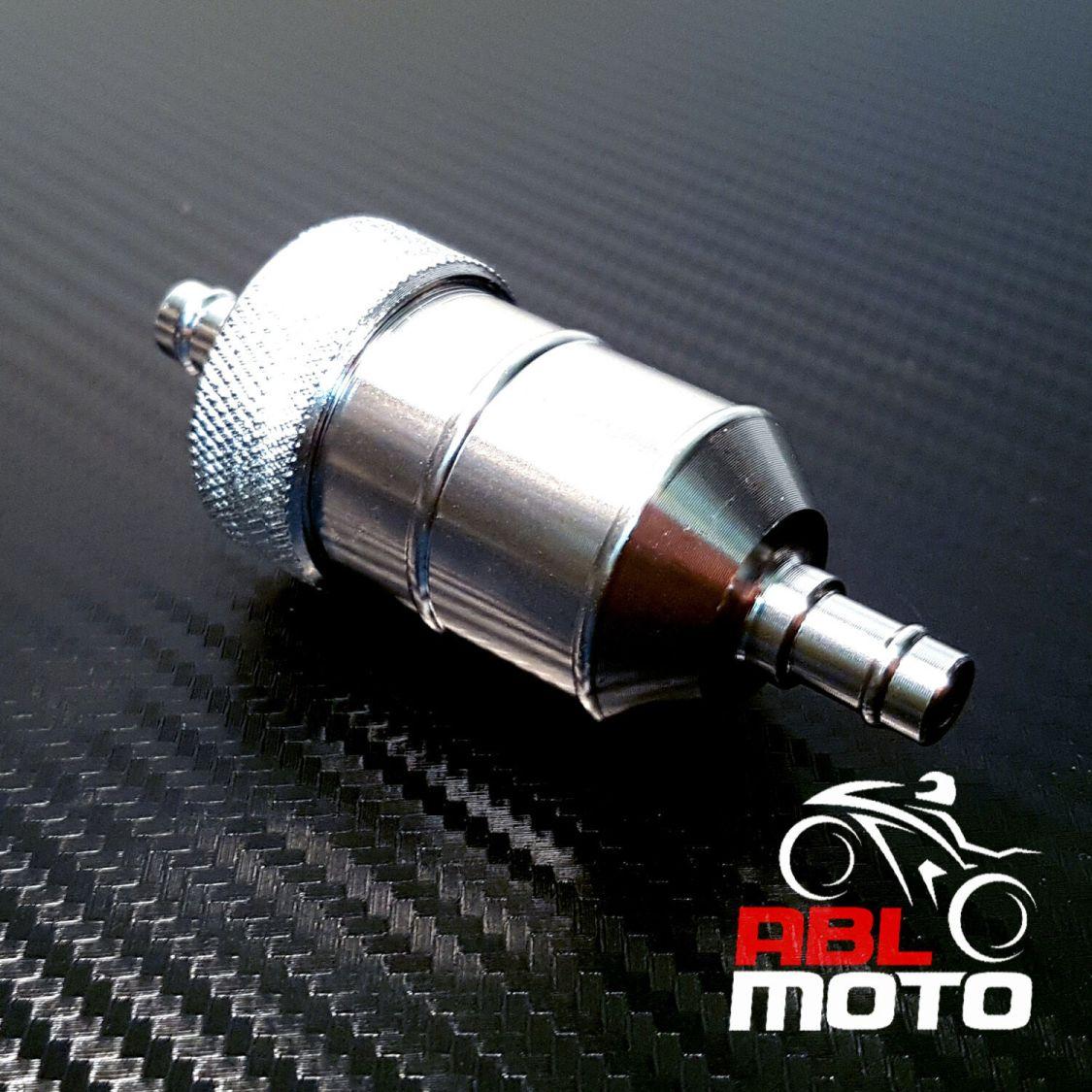 Motorrad Roller universal Kraftstofffilter Benzinfilter Alu 6mm 8mm silber