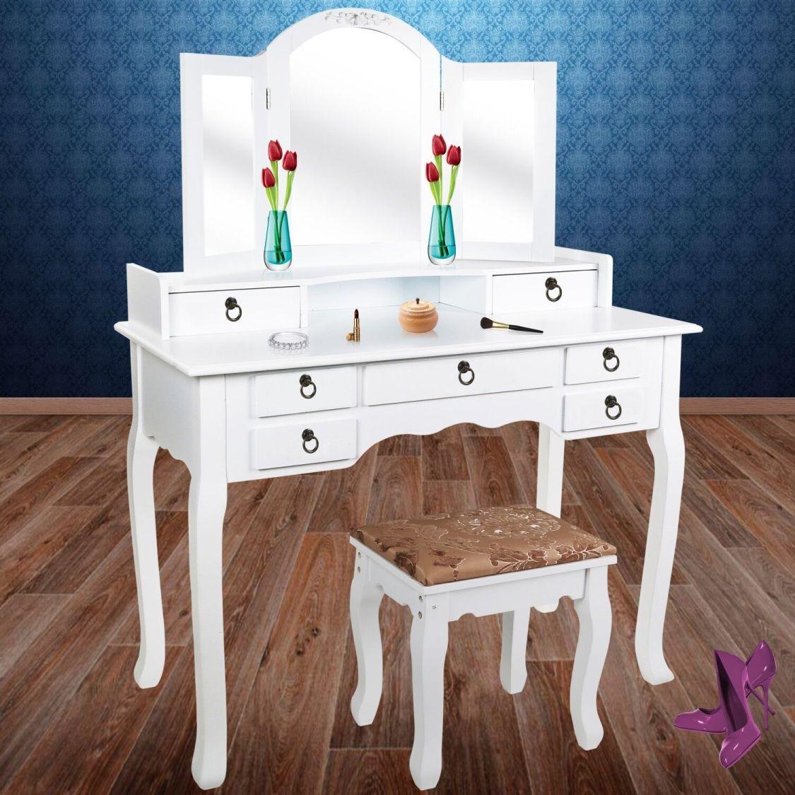 Kesser® XXL Schminktisch Kosmetiktisch Frisierkommode Tisch Kommode + Hocker EO