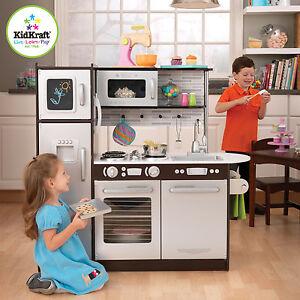 kidkraft uptown espresso play kitchen Kidkraft Kids Wooden Uptown Espresso Kitchen Pretend Play