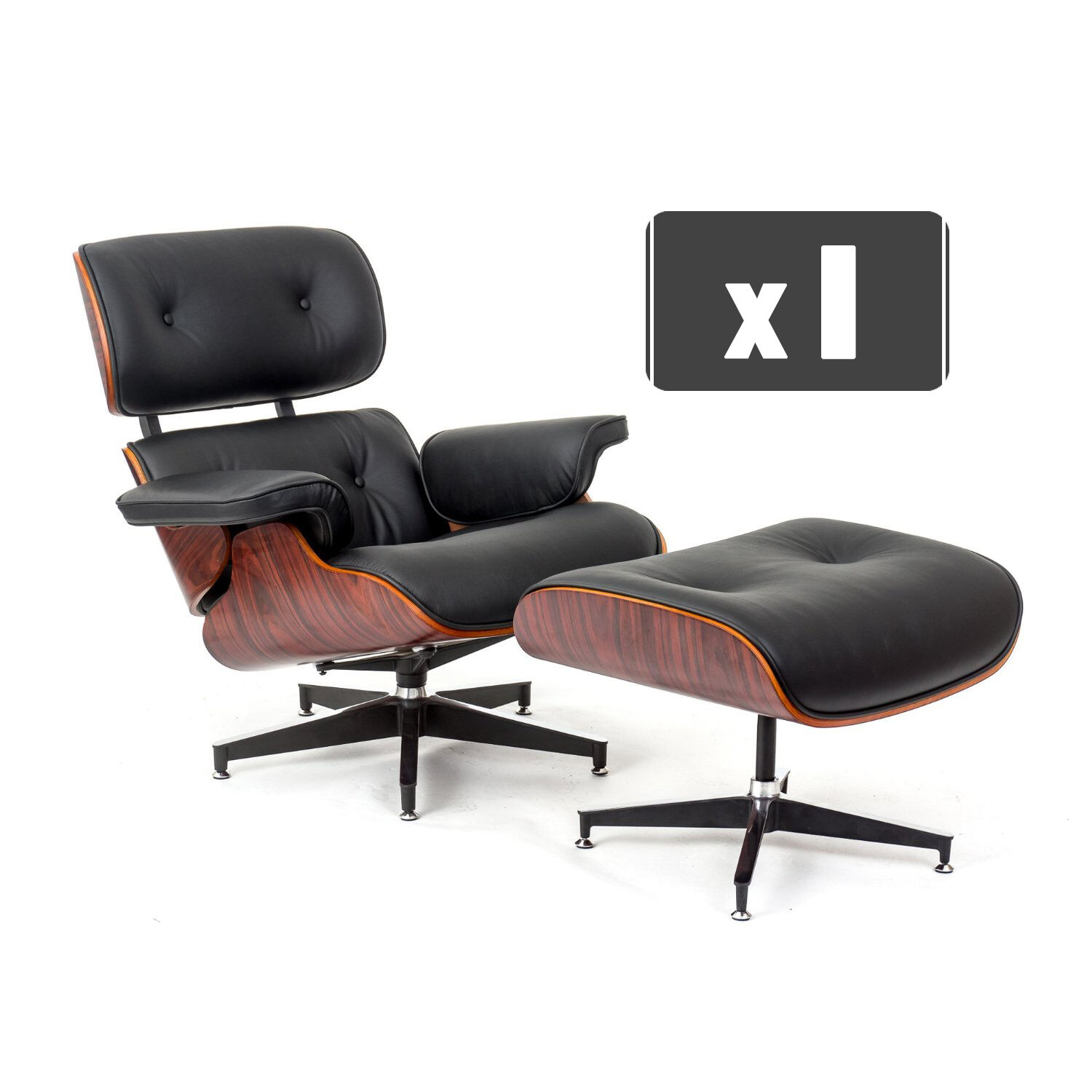 eames chair replica anna slipcover collection charles lounge and ottoman in black