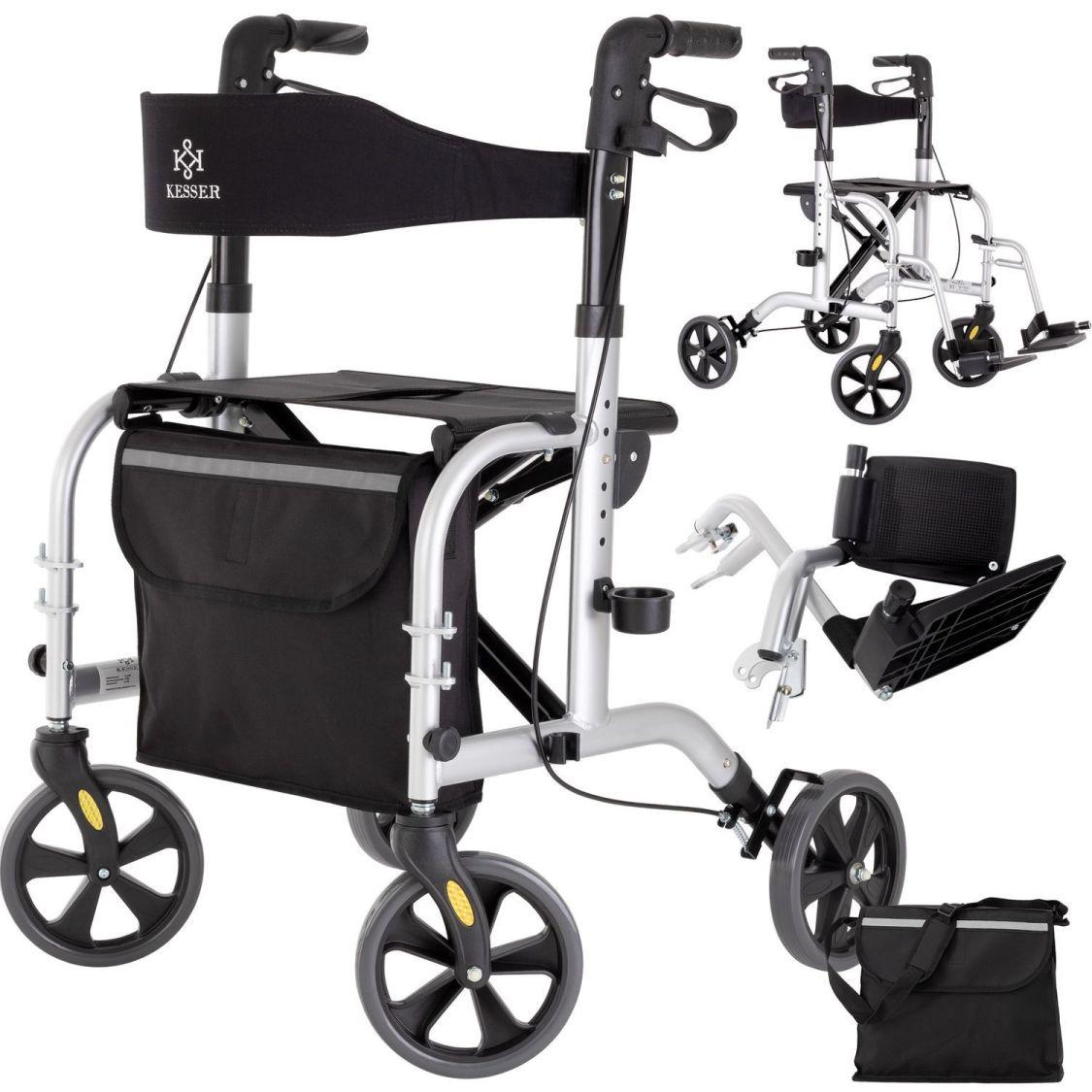 RETOURE 2in1 Alu Rollator Rollstuhl Leichtgewichtsrollator Laufhilfe Gehhilfe