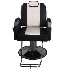 White Hair Styling Chairs Z Shaped High Chair Black Adjustable Barber Hydraulic Salon