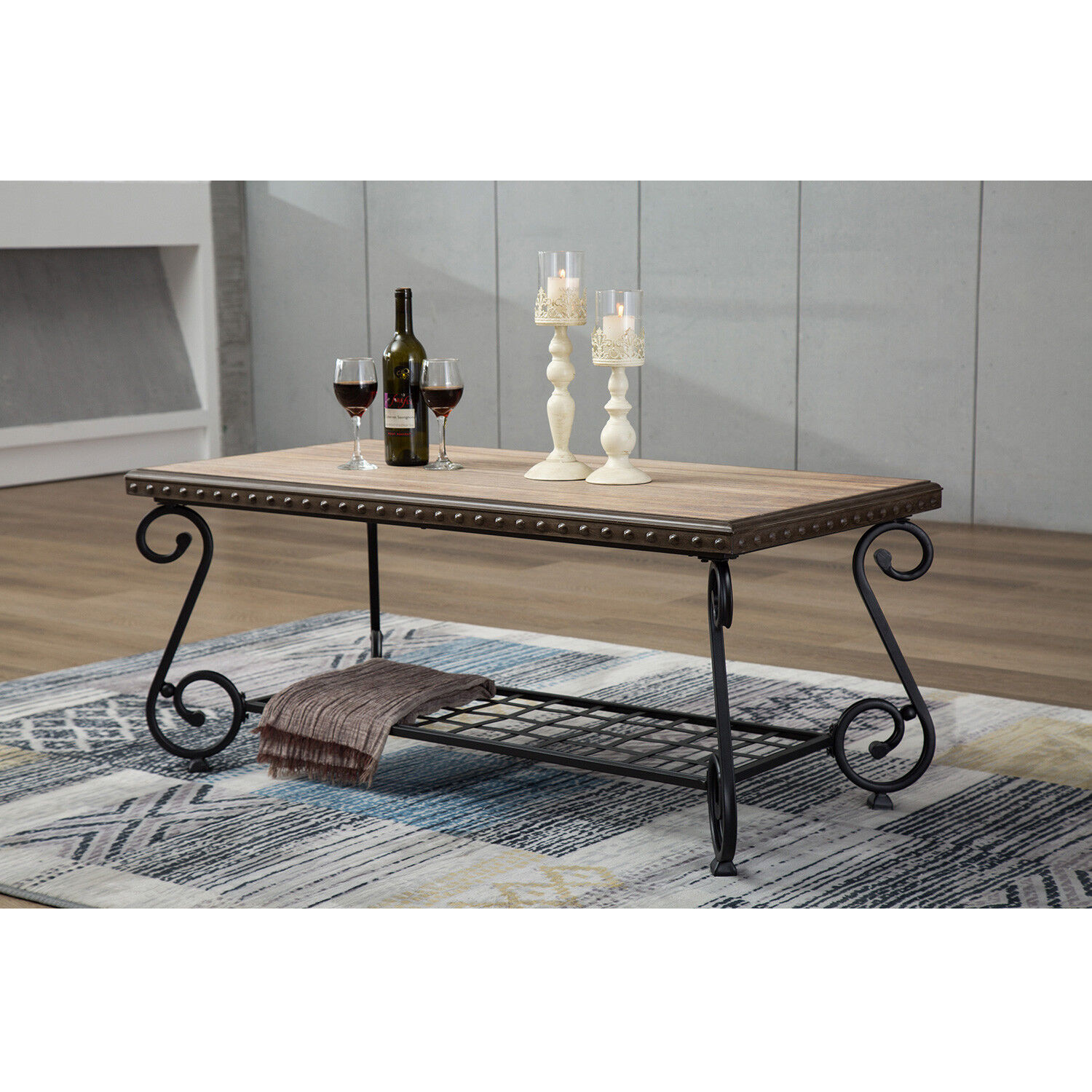 how to make a sofa table top homcom fold out futon bed single design industrial style coffee 2 shelf tea side details about metal frame