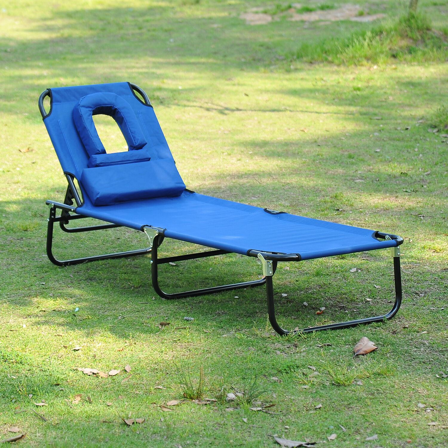Folding Lounge Beach Chair Outdoor Lounge Chair Portable Folding Garden Sun Lounger