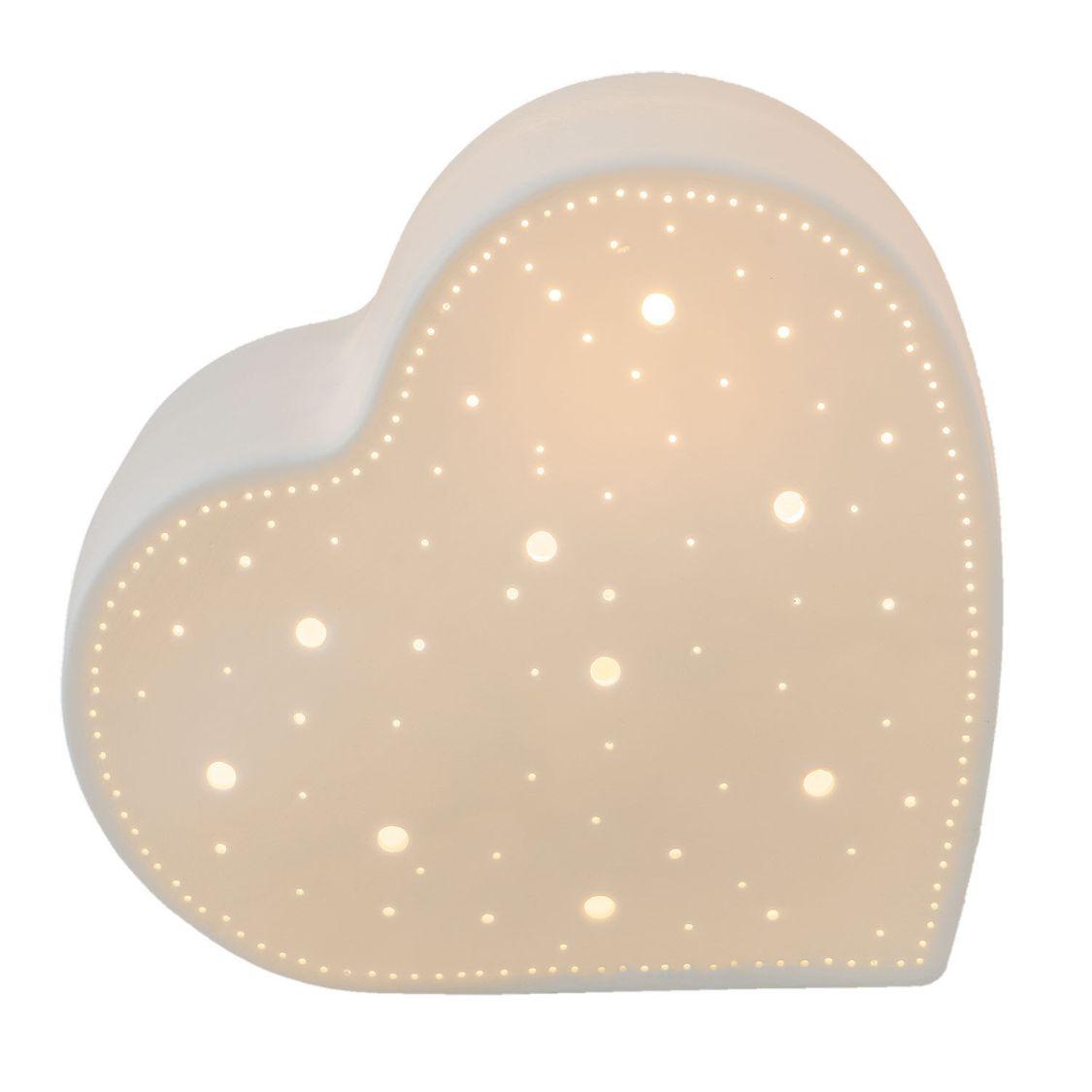 Tischlampe Tischleuchte Motivlampe Herz weiß 20 x 11 x 18 cm Clayre & Eef 6LMP48