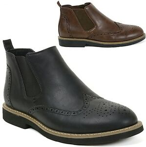 AlpineSwiss Bulle Mens Ankle Boots Chelsea Brogue Medallion Wing Tip Dress Shoes