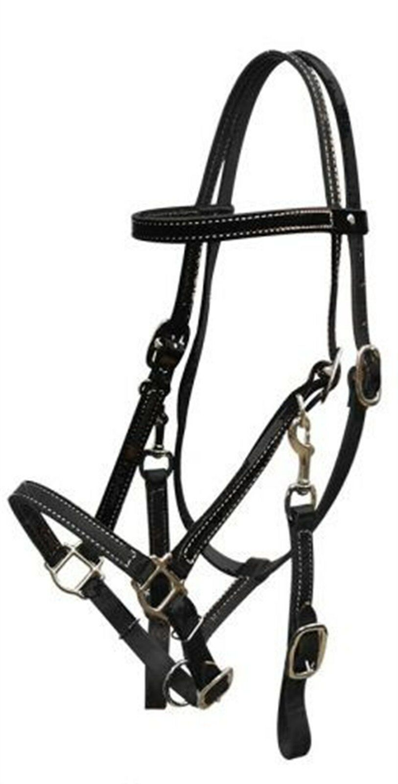 BLACK Leather Horse Halter Bridle Combination with Reins
