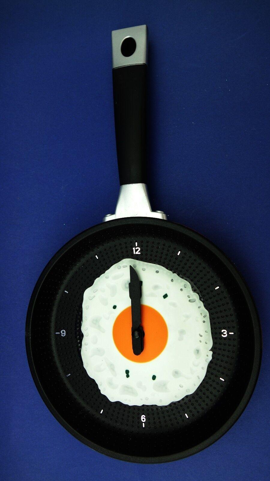 Küchenwanduhr in Pfannen Design Wanduhr Pfannenuhr Küchenuhr Uhr Pfanne Ei  #108