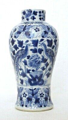 ANTIQUE CHINESE BLUE & WHITE VASE, BIRDS & MOTHS, KANGXI MARK, 19th C, A.F.