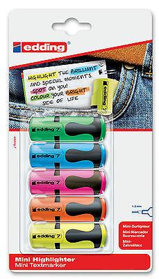 edding 7 mini Textmarker Highlighter 5er Etui farblich sortiert 4-7-5-1999